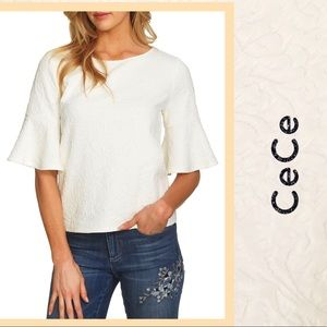 Ivory White Top CeCe Textured  Bell Sleeve  NWT